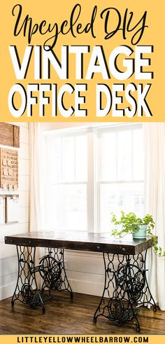 A rustic industrial style desk made from two vintage sewing machine treadle bases.  An easy DIY if you can find matching bases! Perfect for a farmhouse style home office.  via @littleyellowwheelbarrow