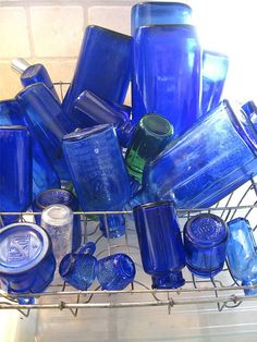 We do not get blue glass cobalt products as much anymore. Antique Bottles, Vintage Bottles, Bottles And Jars, Glass Bottles, Love Blue, Blue Green, Blue And White, Blue Bird, Azul Indigo