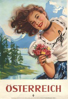 Vintage Travel Poster - Austria - by Else Czulik, Austria, Vintage Images, Vintage Ads, Retro Poster, Gig Poster, Ski Posters, Tourism Poster, Travel Ads, Travel Photos