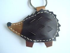 Heather the Hedgehog Leather Keychain  Dark Brown by leatherprince, $19.90