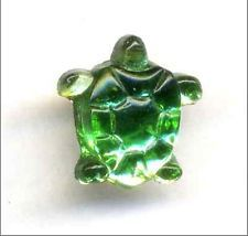 Vintage Glass Realistic Button...TURTLE...Green Mirror/Mercury Glass