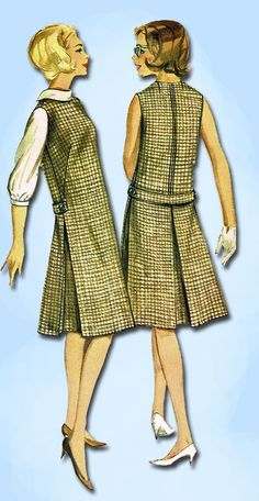1960s Vintage Misses Jumper Dress Uncut Butterick Sewing Pattern 3179 Sz 10 31B