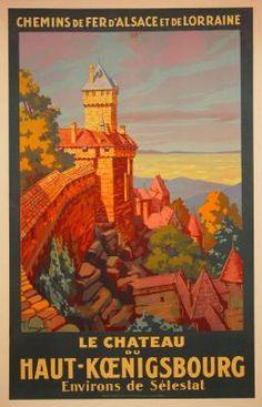 1935 Le Chateau du Haut-Koeningsbourg, France vintage travel poster