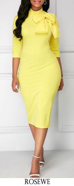 Bowknot Embellished Mock Neck Sheath Dress.#Rosewe#yellow#dress