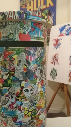 Decoupaged wedding postbox, with comic book heroes and matching table plan. Available on our Etsy page.