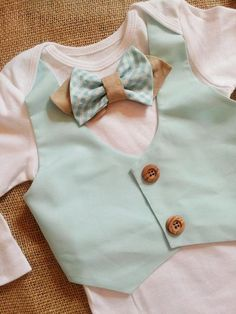 Baby vest bowtie onesie. Mint/aqua/ tan  Perfect for Easter, spring photos, babys 1st birthday, weddings, party