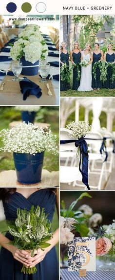 navy blue and greenery wedding color ideas for 2018