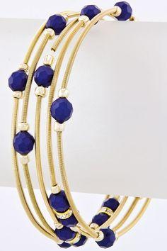 Blue Sailor Beaded Coil Bracelet