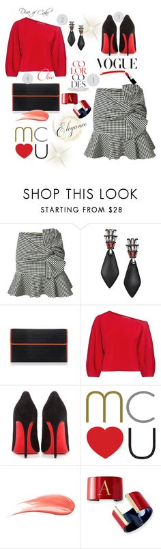 """""""Red & Black"""" by kercey ❤ liked on Polyvore featuring Veronica Beard, Alexis Bittar, Poupée Couture, TIBI, Christian Louboutin, Hourglass Cosmetics and Mark & Graham"""