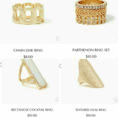 Gold rings from charming charlie