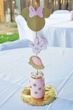 Pink gold minnie mouse diy centerpieces mason jar cricut