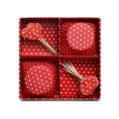 Kırmızı Puantiyeli Cupcake Seti