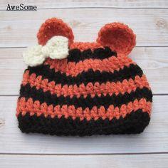 Livraison gratuite tigre nouveau - né bonnet avec arc, Crochet bébé fille Coming Home cap, Bébé Halloween Costume photographie Prop(China (Mainland))