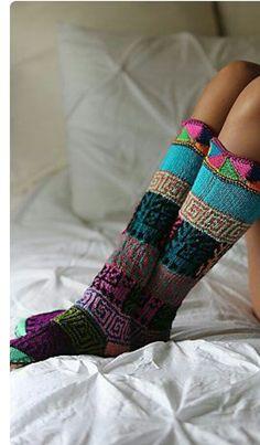 Hand knitted multicolored long socks,Peruvian Treasures,Unisex Peru vian knitted socks,Wool mixed fibers socks,warm hand made socks. Comfy Socks, Cute Socks, Awesome Socks, Warm Socks, Knitting Socks, Hand Knitting, Slipper Socks, Sock Shoes, Winter Fashion