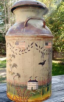 Rufus Porter style folk art on interesting items like sap buckets, galvanized tubs, old milk crates, vintage breadboards, and tins. Primitive Painting, Primitive Folk Art, Primitive Crafts, Tole Painting, Painting & Drawing, Painted Milk Cans, Country Crafts, Antique Decor, Garden Crafts