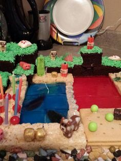 minecraft cake Minecraft Cake, Birthday Cake, Desserts, Food, Tailgate Desserts, Birthday Cakes, Dessert, Postres, Deserts