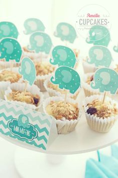 Mini muffins at an elephant baby shower party! See more party ideas at CatchMyParty.com!