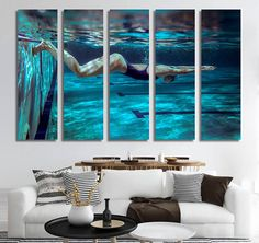 Swimmer Large Wall Art Canvas...this looks so cool!! (click on the picture to find out how to get one)