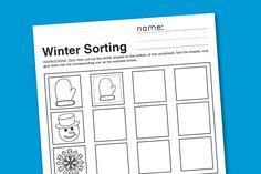 winter sorting worksheet