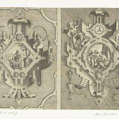 Twee cartouches, elk met de voorstelling van een evangelist, Pieter van der Heyden, after Jacob Floris, 1566 - Rijksmuseum