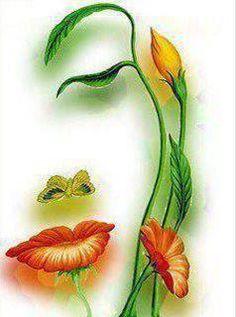 Rostro de una mujer ,hecho con flores.