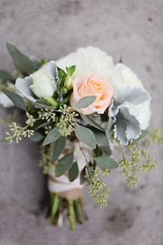 coral and white bouquet