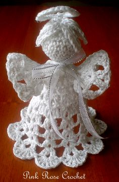 PINK ROSE CROCHET /: Anjo de Crochê Enfeite de Natal - Crochet Christma...