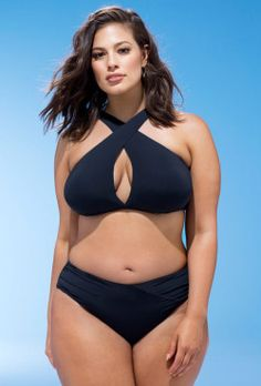 2ede7505bc614 Ashley Graham x swimsuitsforall Jefa Black Bikini Plus Size Swimsuit Tops,  Plus Size Bikini,