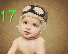 10pcs/lot Baby Pilot hat-Crochet baby aviator hat / Newborn to Toddler Crocheted Aviator Hat boys Earflap hat 100% cotton