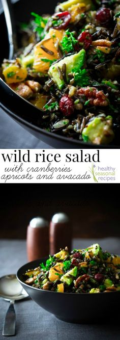 wild rice salad with cranberries apricots and avocado - Healthy Seasonal Recipes