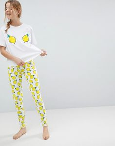 ASOS   ASOS Embroidered Lemon Tee and Legging Pajama Set