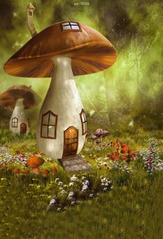 Wall Mural Childrens Fairy House Forest Repositionable Vinyl Interior Art Decor in Home, Furniture & DIY, DIY Materials, Wallpaper Mushroom Drawing, Mushroom Art, Fantasy Landscape, Fantasy Art, Fantasy House, Mushroom House, Studio Backdrops, Magical Forest, Fairy Art