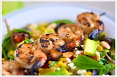Tuesday Tastings, salad, grilled shrimp, corn salad, avocado, raisins, recipe #camillestyles