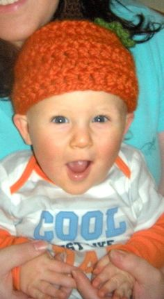 Crocheted Pumpkin Beanie Hat for Child by laceylove81 on Etsy <3 Love my lil Levi