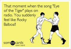 That moment when the song 'Eye of the Tiger' plays on radio. You suddenly feel like Rocky Balboa! Rocky Quotes, Rocky Balboa Quotes, Sylvester Stallone Quotes, Rocky Series, Stallone Rocky, My Champion, Romance, Gym Humor, E Cards