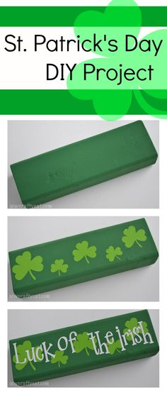 Patrick's Day DIY Tutorial Use your Silhouette Cameo or Cricut to make this cute wood block for St. A great project to make to help learn how to layer vinyl. 2x4 Crafts, Wood Block Crafts, St Patrick's Day Crafts, Holiday Crafts, Holiday Ideas, Wood Blocks, Holiday Decor, St. Patrick's Day Diy, Silhouette Cameo