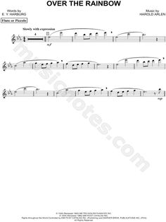 Over the Rainbow - Flute From The Wizard of Oz - Digital Sheet Music
