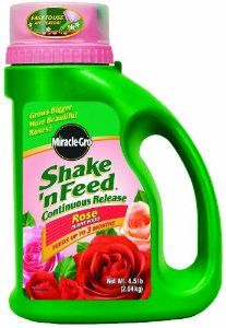 Miracle-Gro 1008591 Shake'n Feed Rose Plant Food Jug, 4.5-Pound by Miracle-Gro. $14.90. Promotes vibrant, beautiful roses and strong root growth. Miracle-Gro shake'n feed rose plant food. Fertilizer analysis: 9-18-9. Takes the guesswork out of feeding; shakes on in minutes and feeds continuously for up to 3 months.. Measures 16.7-Inches in length x 12.5-Inches in width x 11.5-Inches in height; weighs 4.5 pounds. Miracle-Gro shake'n feed rose plant food. Takes the guesswork out ...
