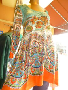 Printed uneven hem tunic made locally for spring 2013