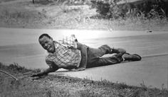 On June 6,1966, civil rights activist James Meredith was shot while leading the March Against Fear from Memphis to Jackson, Mississippi. Meredith later rejoined the march which registered several thousand people to vote.  1967 Pulitzer Prize, Photography, Jack R. Thornell, Associated Press
