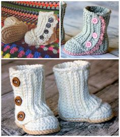 Crochet Baby Girl Crochet Baby Snow Boots Free Pattern Video Tutorial - You will love these adorable Crochet Baby Snow Boots and how cute are they! Watch the video tutorial and check out all the other ideas too. Booties Crochet, Crochet Baby Boots, Baby Girl Crochet, Crochet Slippers, Crochet For Kids, Crochet Clothes, Baby Slippers, Crotchet Baby Shoes, Crochet Baby Stuff