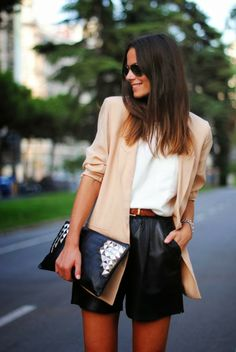 Leather shorts and blazer