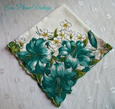 Aqua Yellow Floral Handkerchief Cotton Hankie by EauPleineVintage
