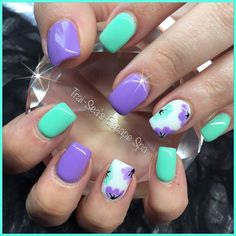 cool Teal, purple and hand painted flowers by Trai-Sea's Escape Spa Inspired by m.fac...
