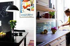 Køkkenet Køkkenet er holdt i hvid, sort, stål, rå træ og enkelte farveklatter. Køkkenskabe og låger er fra IKEA, de sø-grønne 5×5 cm fliser er fra Evers og de fritsvævende hylder er specialbygget af sammenlimet birketræskrydsfiner med indbygget lys.