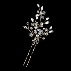 Simply exquisite, the Austrian Crystal Leaf Wedding Hair Pin is a beautiful arrangement of Austrian Crystals and scattered accents of Rhinestones that makes the perfect blend of sparkling components for a special occasion hairstyle.