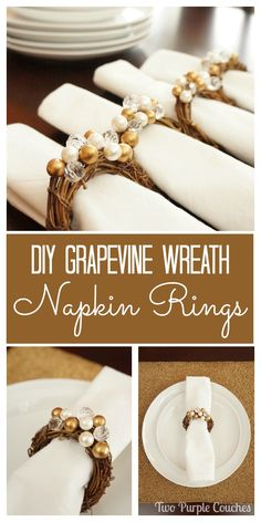 These gorgeous glam grapevine wreath napkin rings will bring a sparkle to your Christmas and holiday table!