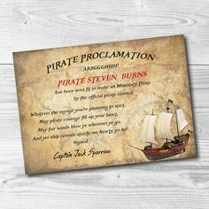 Custom Pirate Proclamation Printable  Pirate Party  Pirate Certificate - Pirate Decoration - Pirates of the Caribbean - Pirate Present