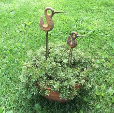 BIRD ART Rusty Metal Art Sculptures set of 2 by Artist John