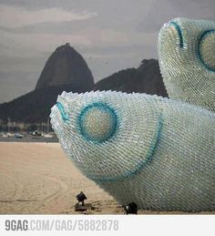 Fish Sculptures Made from Discarded Plastic Bottles in Rio
